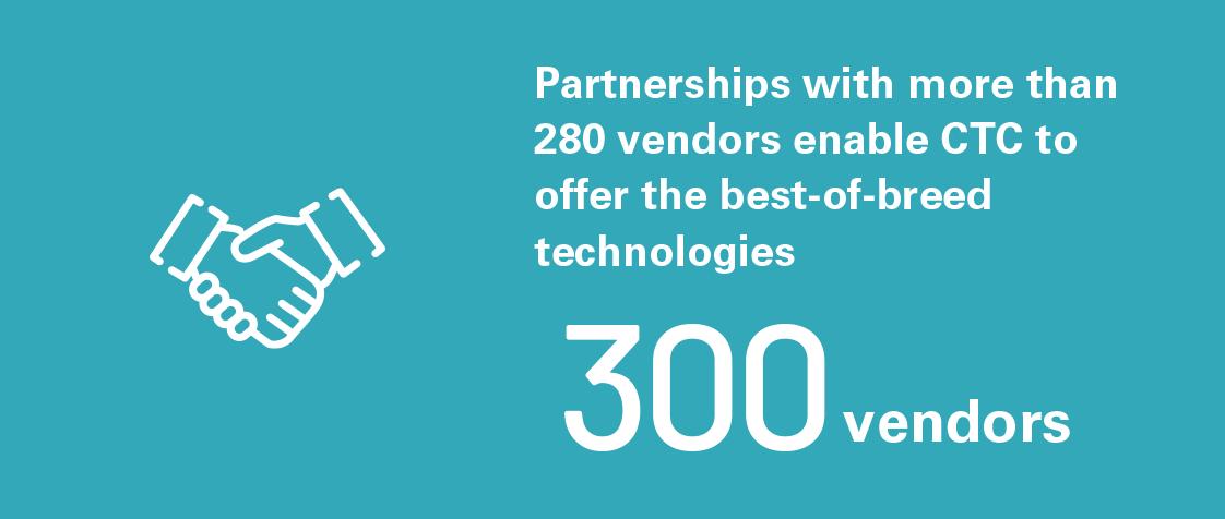280 vendors - Partnerships with more than 280 vendors enable CTC to offer the best-of-breed technologies